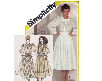 Romantic Style Blouse & Skirt 1980s UNCUT Sewing Pattern Cathy Hardwick heirloom set rodeo Chic Size 10 Bust 32 1/2 Simplicity 5360