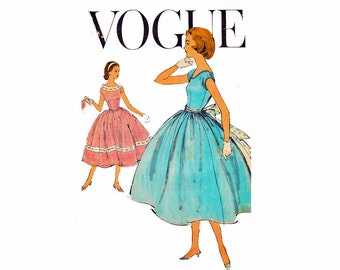 Teen Dream Party Dress with Bouffant Skirt fitted bodice Vintage Vogue Sewing Pattern 1568 Teen Size 10 Easy to Make