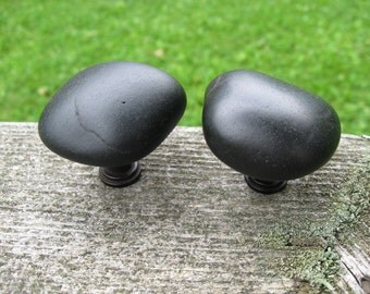 LARGE Beach Stone Cabinet Knobs BLACK Beach Stone Cabinet Knobs
