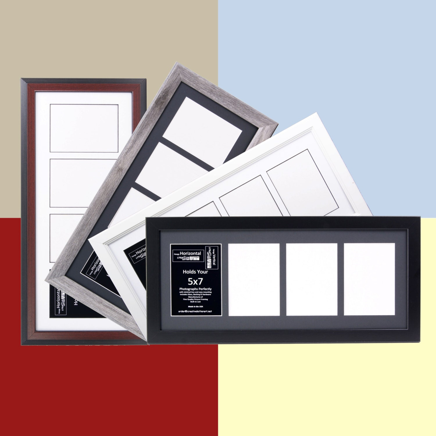 5x7 Multiple 4 Opening Picture Frames With 10x24 Collage Mat