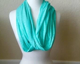 Women's Lightweight Infinity Scarf Mint Green Burnout Fabric
