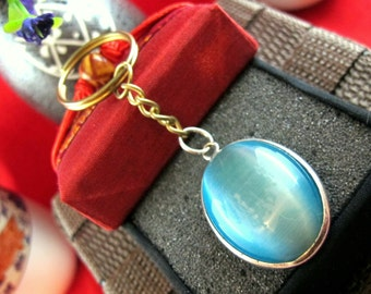 Blue Fiber Glass Key Chain ~ Soothing & Clear ~