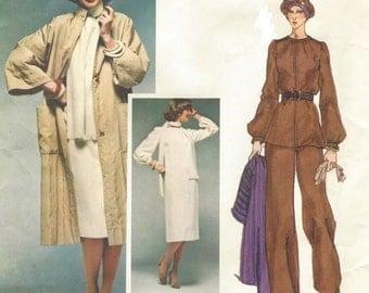 70s Emanuel Ungaro Womens Dolman Sleeve Coat, Dress, Tunic, Scarf & Pants Vogue Sewing Pattern 1497 Size 12 Bust 34 Paris Original Pattern
