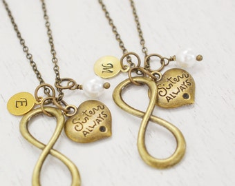 infinity sisters necklaces set, bff gift, infinity jewelry, bridesmaid necklace, maid of honor, best friend, personalized jewelry, christmas