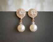 Wedding Earrings, Bridal Earrings, Swarovski Pearl Dangle Earrings, Flower Crystal Rhinestone Stud Earrings, Statement Bridal Jewelry, HELGA