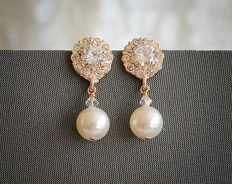 Set of FIVE (5 or 5+), Wedding Earrings, Bridal Earrings, Swarovski Pearl Dangle Earrings, Crystal Flower Bridesmaids Earring, HELGA
