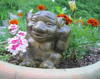 Troll Statue, Cute Gray Gargoyle Cement Figure, Concrete Garden Decor