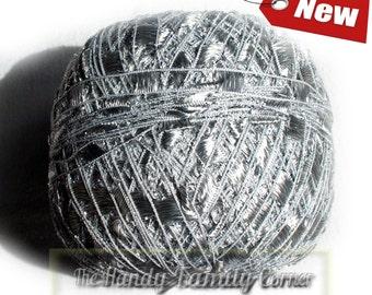 Ribbon ladder yarn. Viscose and lurex shining yarn Luxor Summer yarn Silver color (03) Metalic thread Silver sparkle Trellis yarn Eq
