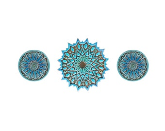 Ceramic tiles // Decorative tiles // Wall tiles // Bathroom tiles // Moroccan tiles // Moroccan #2 // Set of 3 tiles // Turquoise