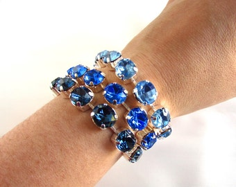 Blue Crystal Bracelet, Swarovski Bracelet, Blue Rhinestone Bracelet, Crystal Bracelet Blue, Sapphire Bracelet, Blue Bracelet, Something Blue