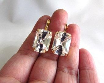 Big Swarovski Earrings, Swarovski Crystal Earrings, Diamond Crystal Earrings, Clear Crystal Earring, Crystal Jewelry, Rhinestone Earrings