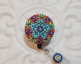 Retractable Badge Holder - Id Badge Reel - Badge Holder - Green Pink Purple Blue