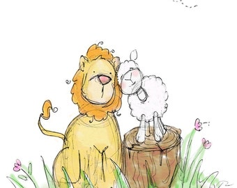 Children's Wall Art, The Lion and The Lamb - 8x10 Print