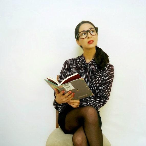 vintage secretary blouse black and white top polka dot shirt small
