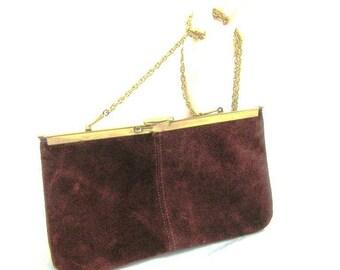 70s Brown Purse Suede Purse Clutch Purse Brown Clutch Brown Suede Handbag 1970s Brown Pocketbook Brown Suede Clutch 70s Suede Clutch