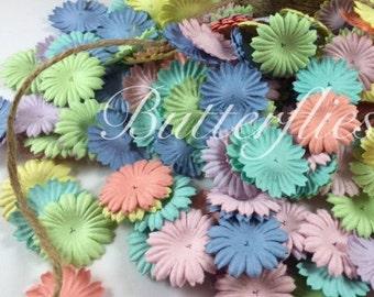 100 Mixed Rainbow Pastel color Mini flat Handmade Scrapbook Paper Flowers  Code 426