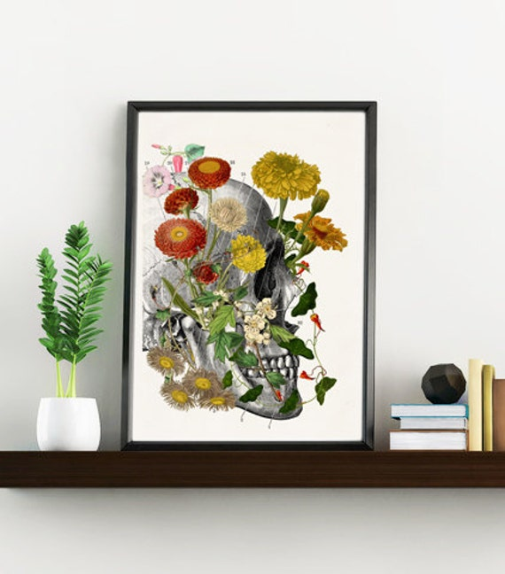 Office wall Art Wild flowers on Skull; Anatomy art print Doctors office gift Human Anatomy prints. flowers print WSK144