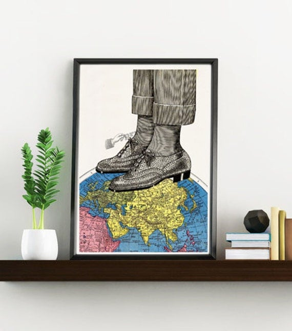 Spring Sale The world at your feets Art Print vintage Map, Oxford shoes Illustration,Giclee print,Print art Traveller gift WTV159