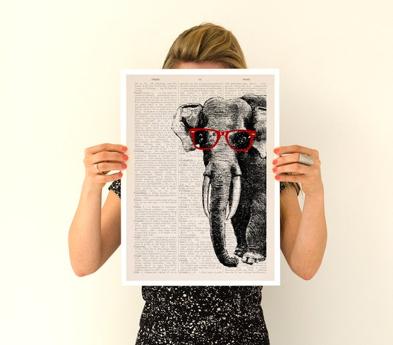 Spring Sale Elephant with red glasses , Geek Elephant poster ,Eco friendly wall art, Wall decor Giclee elephant poster PAN096