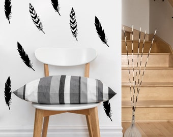 Feather Pattern | Vinyl Wall Sticker,  Decal Art | Set of 11 feathers, 2 x 6 inches