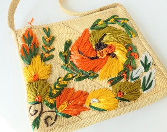 Straw Purse with Raffia Flowers Natural with Orange, Yellow and Green Tropical Island Travel Souvenir