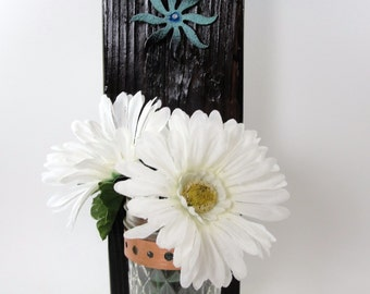 upcycled wood wall hanging, vase, sconce, mason jar, burnt, vintage metal flower, rustic