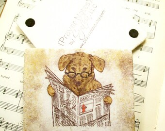 Book Lover's Gift, Reading Dog Coasters, Gift for Readers, Book Clubs, Reading Glasses, Pet Lover's Coaster Set of 4 Tile Drink Coasters