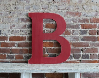"""18"""" Wooden Letter B, Classic Font in Distressed Royal Blue - all letters available in many colors"""