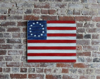 """24"""" Wooden Colonial Flag - US Flag - Patriotic Flag - Distressed, 13 stars and stripes"""