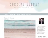 Premade Modern Watercolor Pastel Blog Header - Blue Blush Pink Minimalist Design