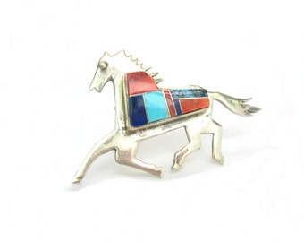 Native American Horse Brooch. Zuni Jewelry. Turquoise, Lapis, Spiny Oyster Inlay. Vintage Southwestern Sterling Silver Jewelry. Signed JE.