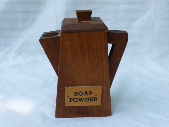 Vintage wooden tea pot shaped soap powder box by for Short box shaped pot