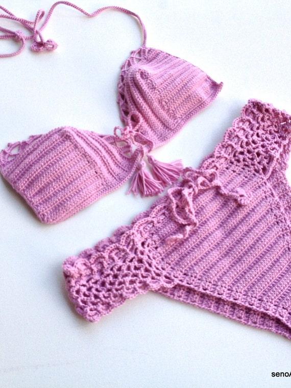 Crochet Swimsuit : Lilac Women Swimwear Crochet Bikini Top Bikini Bottom Swimsuit ...