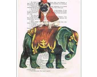 Elephant with Pug, Drawing Illustration Giclee Prints Posters Mixed Media Art Acrylic Painting Holiday Decor Gifts Pug painting