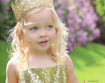 Ready to Ship|| Sage || FULL SIZE gold lace crown || photography prop|| Child-Adult || custom sizes