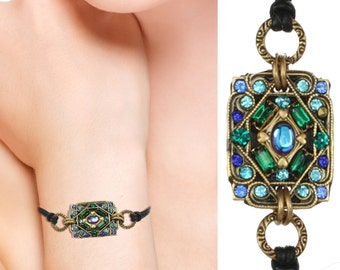 Michal Golan Blue and Green Bracelet on Leather
