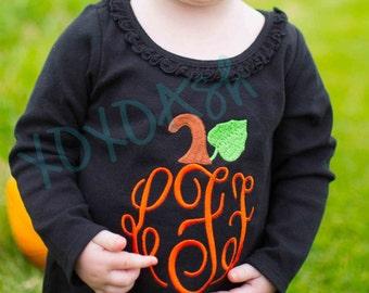 Girls Pumpkin monogram Shirt--Fall Thanksgiving--Embroidered shirt or Bodysuit