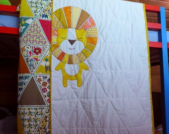 NEW! Sleeping Lion Quilt Pattern PDF, EASY quilt pattern, Applique pattern, Instant download