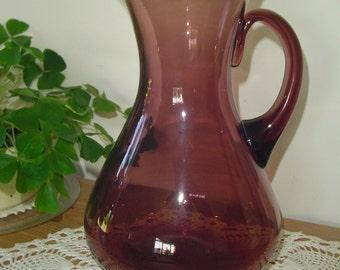 Blenko Amethyst Glass Pitcher, Large Blenko Pitcher, Antique Blenko Amethyst Pitcher, Gorgeous Amethyst Vase, Antique Blenko Large Vase