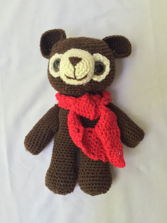 Crochted Stuffed Brown Bear with Red Scarf and Safety Lock Eyes
