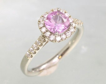 Orchid Pink Sapphire Engagement Ring Square Cushion Gemstone in White Gold Diamond Halo Wedding Ring