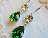 Gold Emerald Earrings Vintage Swarovski Crystal Champagne Emerald Earrings Vintage Crystal Rhinestone Bridal Earrings Bridal Jewelry