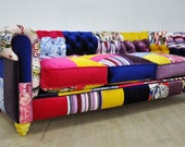 CUSTOM ORDER for MARIE: Chesterfield patchwork sofa - variety of purples