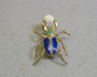 Bug with Golf Ball Brooch, Vintage, 1960s, Enameled Pin