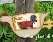 Hand painted chicken, wood chicken Americana chicken, chicken decor, prim home decor,watermelon, sheep, American Flag, salt box house