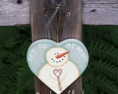 Snowman ornament, paper mache heart, Valentines decoration, Holiday decor, hand painted, sage green, CIJ