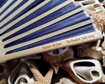 Personalized Wedding Fans, Wedding Favors, Silk Engraved Asian Folding Fan
