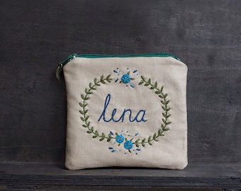 Name Personalized Coin Purse - Unique Floral and Own Name Hand Embroidery - MADE TO ORDER - with Roses and Fern