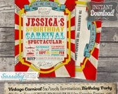 Vintage Carnival Invitation - INSTANT DOWNLOAD -  Partially Editable & Printable Circus, Sideshow, Carousel, Birthday Party Invite