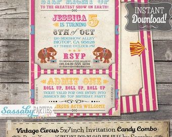 Vintage Circus Invitation - INSTANT DOWNLOAD - Pink Circus Carnival Partially Editable & Printable Birthday Invite by Sassaby Parties